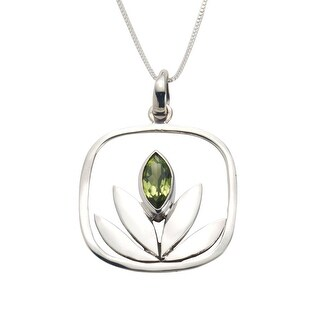 Women's Peridot Lotus Pendant Necklace - 1 Inch Square on 18 Inch Sterling Chain - Silver