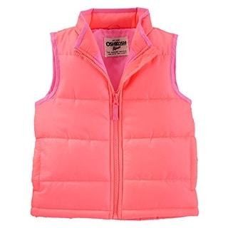 OshKosh B'gosh Girls' Puffer Vests- Coral - Pink Lining