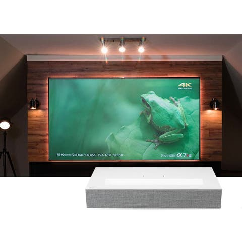 LG 85LA 4K UHD Laser Smart Home Short Throw Projector with Elite Screens AR-90H - White