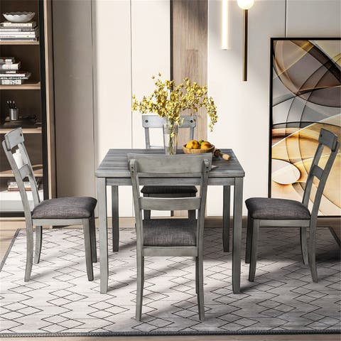 5 Piece Dining Table Set Industrial Wooden Kitchen Table and 4 Chairs
