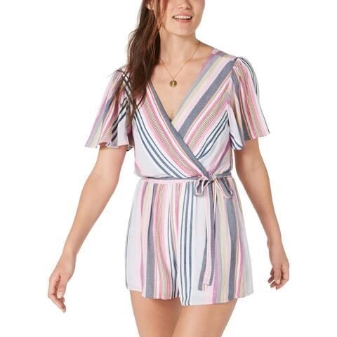 Trixxi Womens Juniors Romper Open Back Striped - Pink/Blue/White