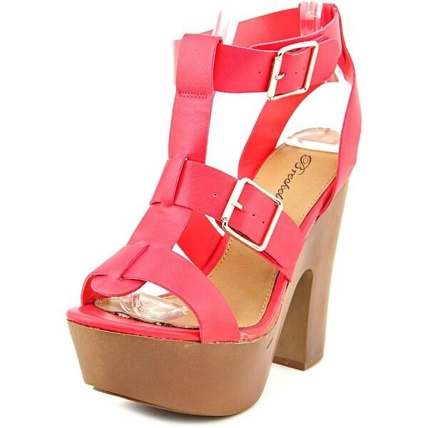 Breckelle's Renee-21 Open Toe Synthetic Platform Sandal
