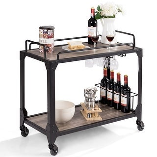 Costway 2 Tier Rolling Bar Serving Cart Wood Kitchen Island w/ Wine Holder&Glass Hanger - As pictures