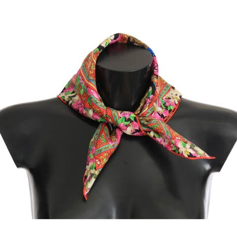 Dolce & Gabbana Silk Multicolor Knight Floral Women's Scarf - One Size