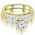 2.55 cttw. 14K Yellow Gold Bar Set Round & Princess Cut Diamond Bridal Set - Thumbnail 0