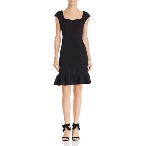 Nanette Nanette Lepore Womens Cocktail Dress Ruffled Knee-Length - Very Black