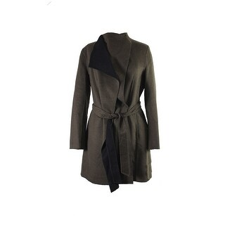 Calvin Klein Olive Layered-Collar Belted Wrap Coat L