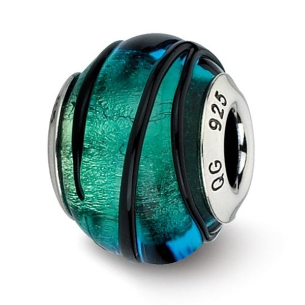 Italian Sterling Silver Reflections Teal with Black Stripes Murano Bead (4mm Diameter Hole)