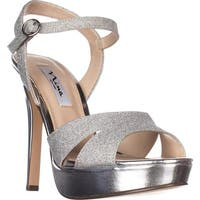 Nina Shara Platform Dress Sandals, Silver Glitter