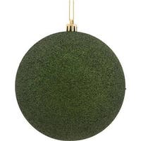 Vickerman  8 in. Moss Green Glitter Geometric Christmas Ornament Ball