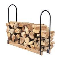 Costway Adjustable Length Outdoor Kitchen Firewood Log Rack Heavy Steel Wood Storage