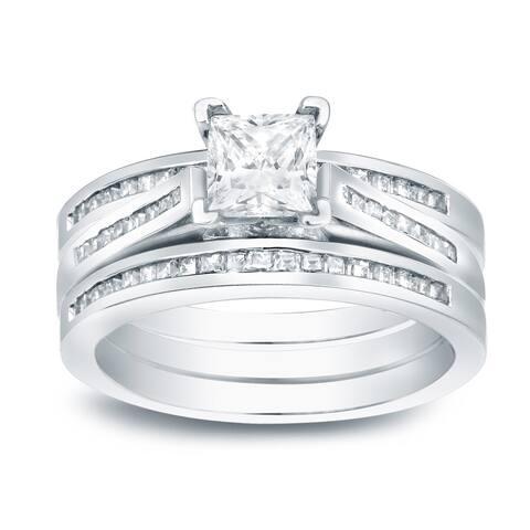 Auriya 1 3/4ctw Princess-cut Diamond Engagement Ring 3pc Set 14k Gold
