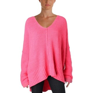 Free People Womens Take Over Me Pullover Sweater Oversized V-Neck