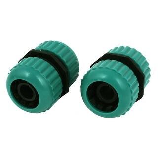 Unique Bargains Plastic Garden 9mm Thread Spray Water Hose Nozzle Connector Green 2 Pcs