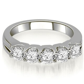 1.00 CT.TW Five-Stone Floating Round Cut Diamond Wedding Band in 14KT Gold - White H-I