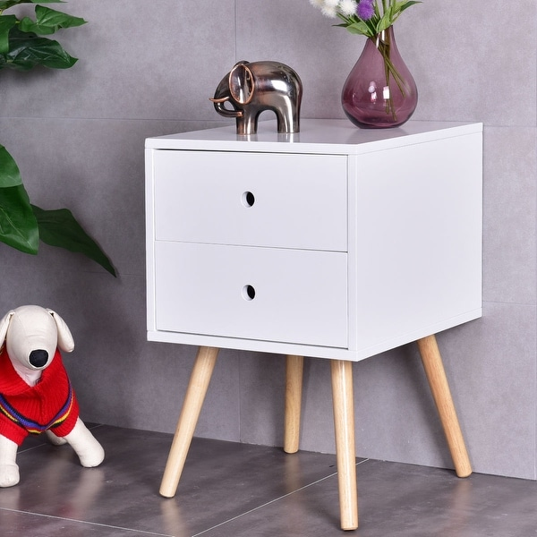 Costway White Side End Table Nightstand W/ 2 Drawers Mid