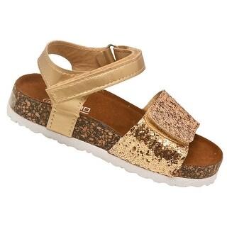 Soho Kids Girls Gold Multi Glitter Summer Wedge Sandals