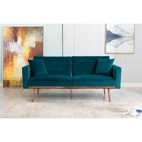 Velvet Loveseat Sofa with Rose Gold Metal Legs