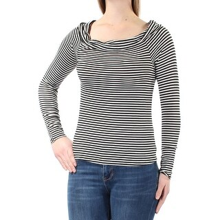 Womens Black Ivory Striped Long Sleeve Off Shoulder Top Size M