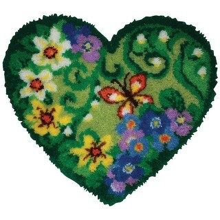 """Shaped Latch Hook Kit 30""""X27""""-Spring Floral Heart"""