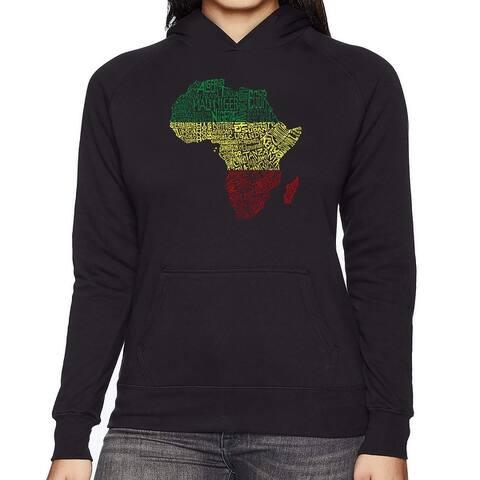 Women's Word Art Hooded Sweatshirt -Countries in Africa