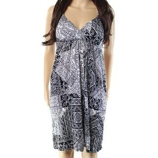 INC NEW Black White Womens Size Medium M Printed Empire Waist Dress