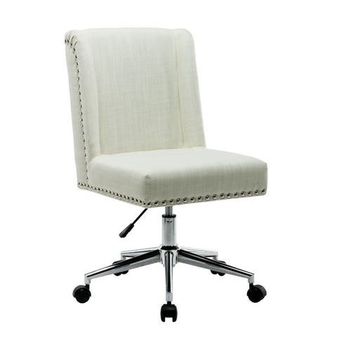 Porthos Home Office Chair With Fabric Upholstery, Studded Design