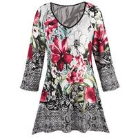 Michael Tyler Women's Floral Tunic - Watercolor Flower Print 3/4 Sleeve V-Neck - MultiColor