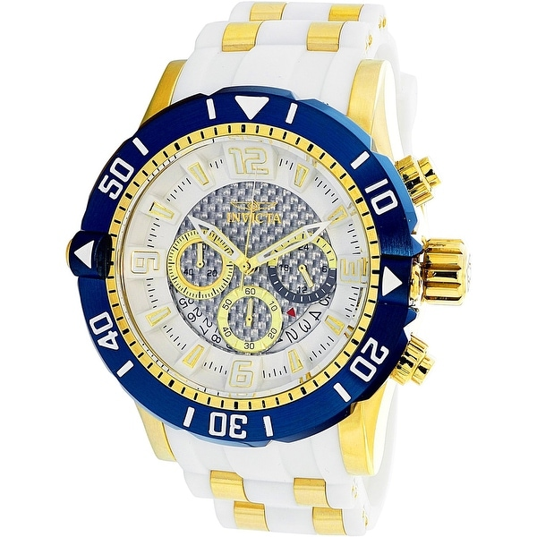 f68032336 Shop Invicta Men's Pro Diver White Rubber Swiss Chronograph Diving Watch -  Free Shipping Today - Overstock - 18618073