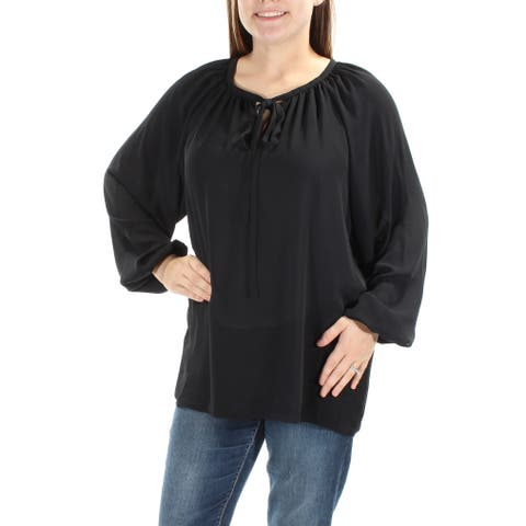 CATHERINE MALANDRINO Womens Black Tie Long Sleeve V Neck Top Size: L