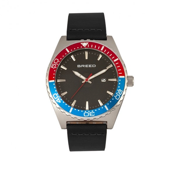 Breed Ranger Leather-Band Watch w/Date - Black/Silver/Red-and-Blue