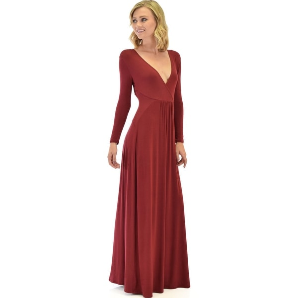 91a3255a748 Shop Sweetest Kiss Long Sleeve Burgundy Maxi Dress-Burgundy-Large - Free  Shipping Today - Overstock - 23109518