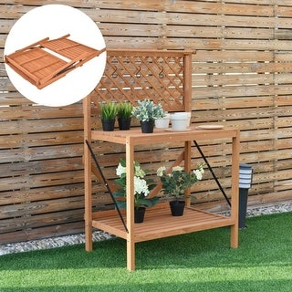 costway folding wood potting bench planting workstation shelf wtop handing bar u0026 hook