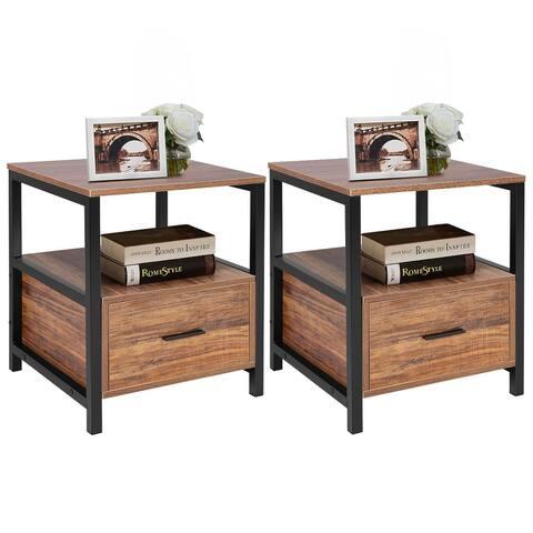 VECELO 1-Drawer Square Modern Nightstand Set of 2