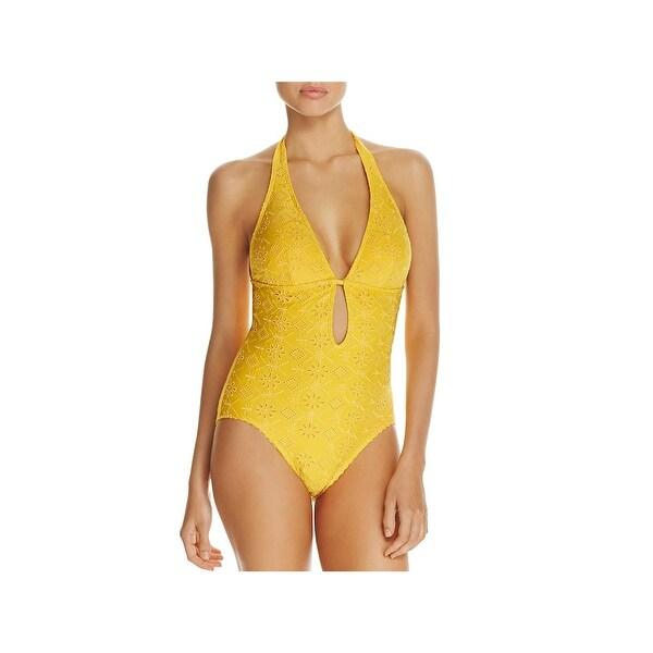 7ec931bef6 Shop Kate Spade Womens Eyelet Halter One-Piece Swimsuit - Free ...