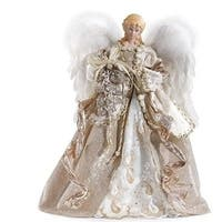 """16"""" Christmas Angel with Champagne Gown Treetop Figure - Gold"""