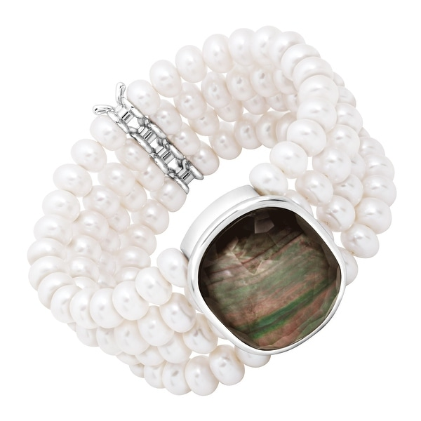 Honora 4-Row Freshwater Pearl & Black Mother-of-Pearl Doublet Bracelet in Sterling Silver