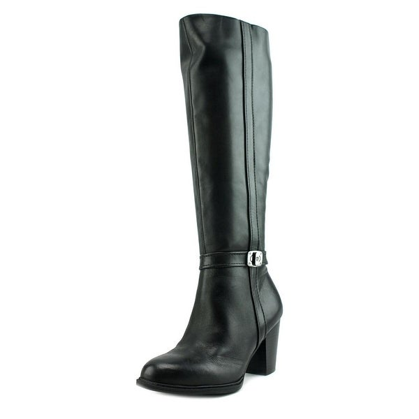 Giani Bernini Raiven Women Round Toe Leather Black Knee High Boot