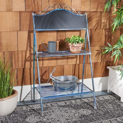 "Safavieh Outdoor Living Natum Victorian Iron 2-Tier Plant Stand - 24.5"" W x 15.8"" L x 43"" H"