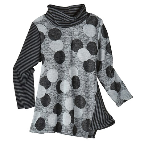 Women's Cowl Neck Tunic Top - Long Sleeve Stripes & Dots Print in Grays