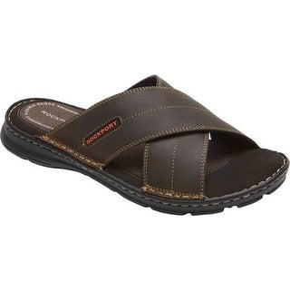 Rockport Men's Darwyn Xband Slide Brown 2 Leather