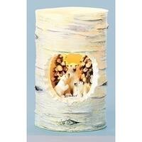 """5"""" Winter Wonderland Polar Bear Birch Distressed Battery Operated Flameless LED Candle"""