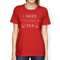 I Need Vitamin Sea Cute Seashell Womens Red Shor Sleeve T-Shirt