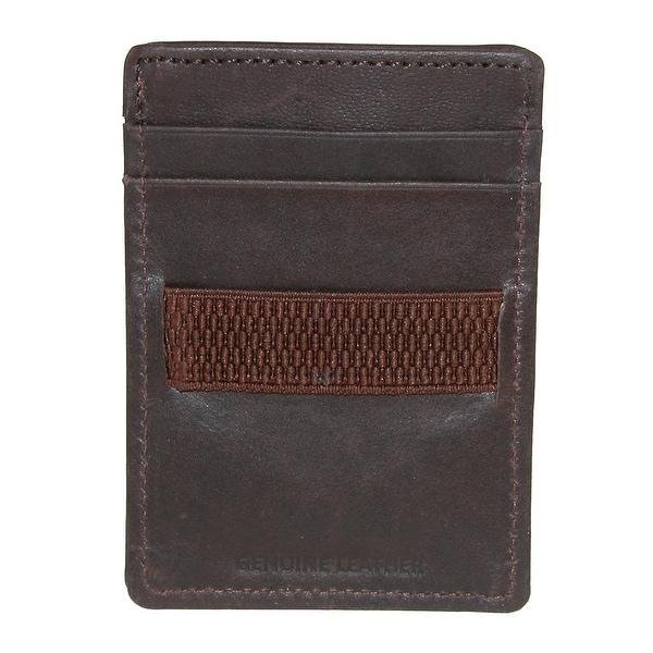 CTM® Men's Leather Dakota Card Case with Elastic Band - One size