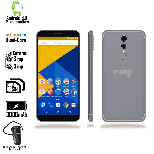 "Indigi 4G LTE Unlocked 5.6"" Android 6 SmartPhone w/ QuadCore @ 1.3GHz + Fingerprint Scan + DualSIM + Bluetooth Headset (Black)"