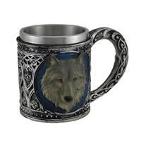 Grey Wolf Head Metallic Tribal Finish Mug with Stainless Steel Liner