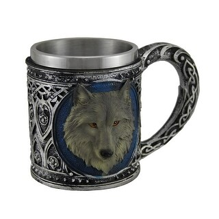 Grey Wolf Head Metallic Tribal Finish Mug with Stainless Steel Liner