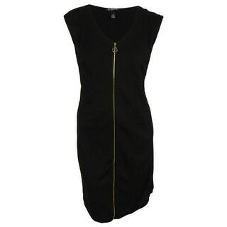 INC International Concepts Women's Zip Front Sleeveles Dress