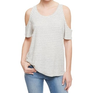 Sanctuary Womens Casual Top Striped Cold Shoulder
