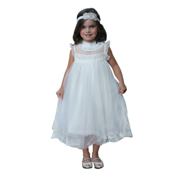 Think Pink Bows Baby Girls Off-White Lace Adrianna Flower Girl Dress 1Y